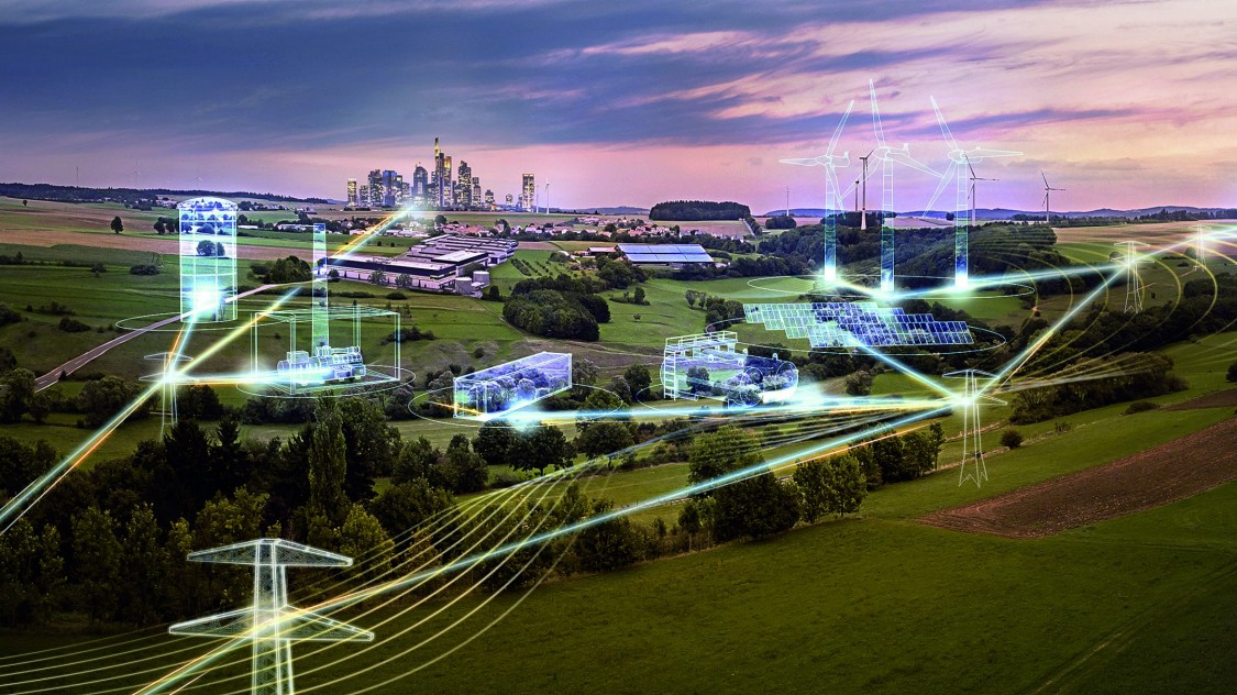 Image of electric grid with a digital overlay