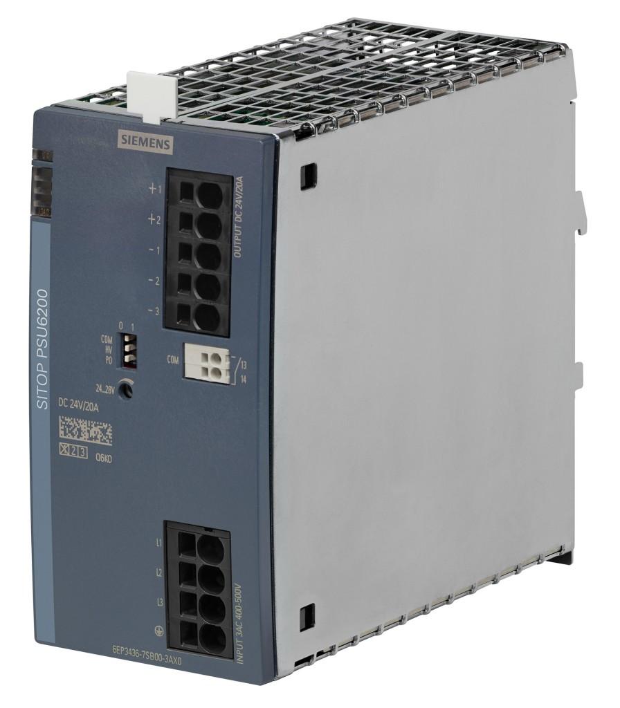 Die neuen 3-phasigen Stromversorgungen Sitop PSU6200 sind sehr schmal und verfügen über eine Diagnoseschnittstelle für die effiziente Zustandsüberwachung in der SPS.