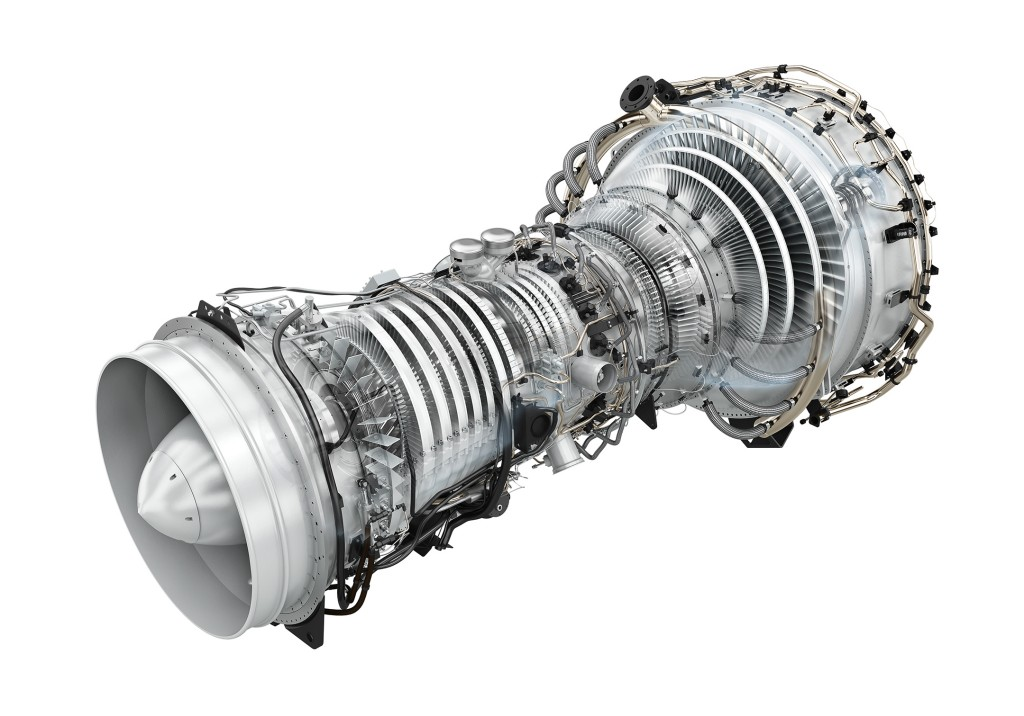 The rendering shows the lightweight architecture of the SGT-A35 RB gas turbine