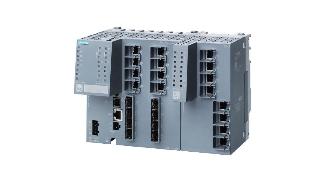 Bild eines Industrial Ethernet Switches SCALANCE X-400 mit Port Extender