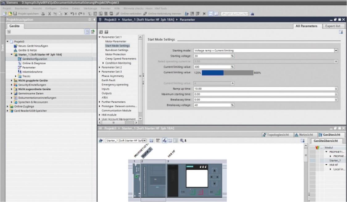 SIRIUS Soft Starter ES – parameterization, monitoring, and diagnostics during servicing