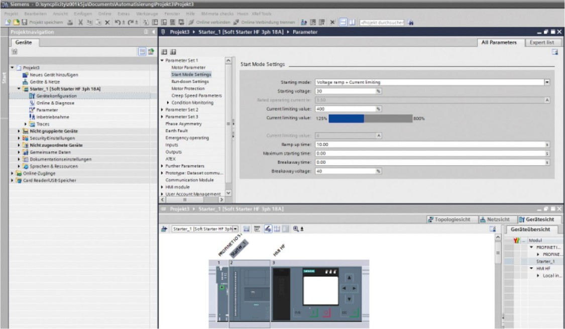 SIRIUS Soft Starter ES – parameterization, monitoring, and diagnostics during servicing