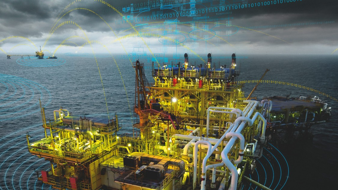 Ropná plošina uprostřed moře produkující ropu a plyn s grafickými prvky komunikační technologie