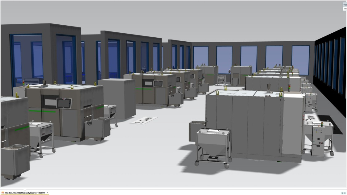 Le site de production virtuel est ensuite créé à l'aide du logiciel de conception et de simulation d'usine Tecnomatix Plant Simulation
