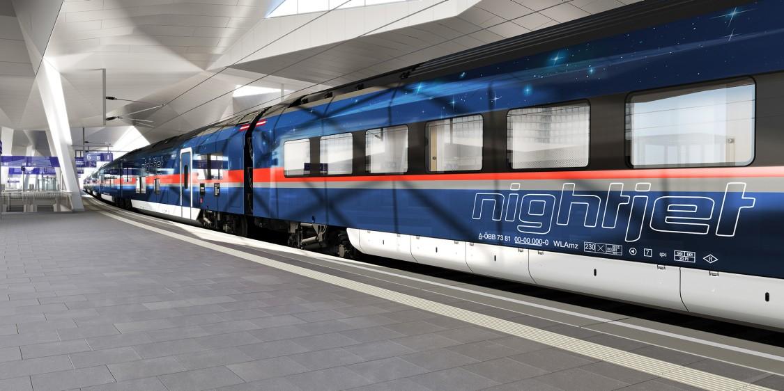 Außendesign ÖBB Nightjet der neuen Generation von Siemens Mobility