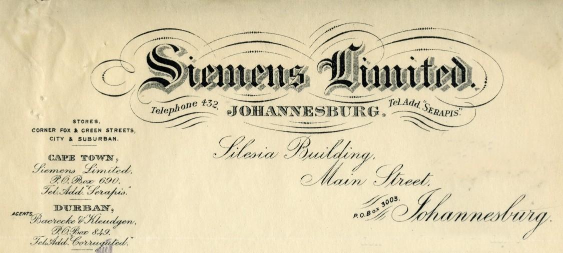 Siemens Limited, Johannesburg, Briefkopf