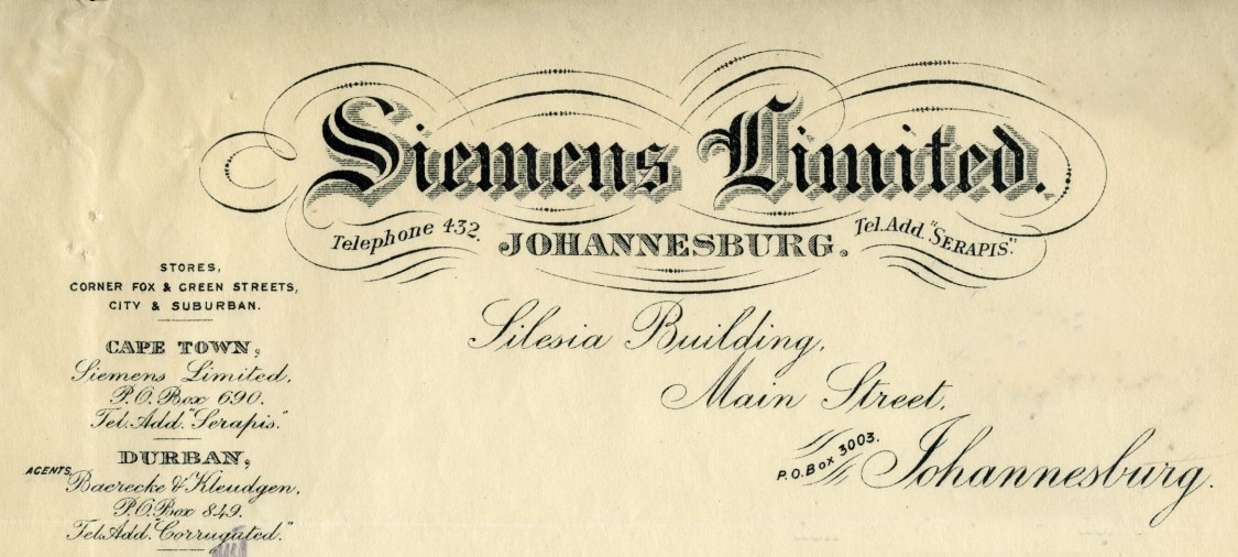 Siemens Ltd, Johannesburg, letterhead
