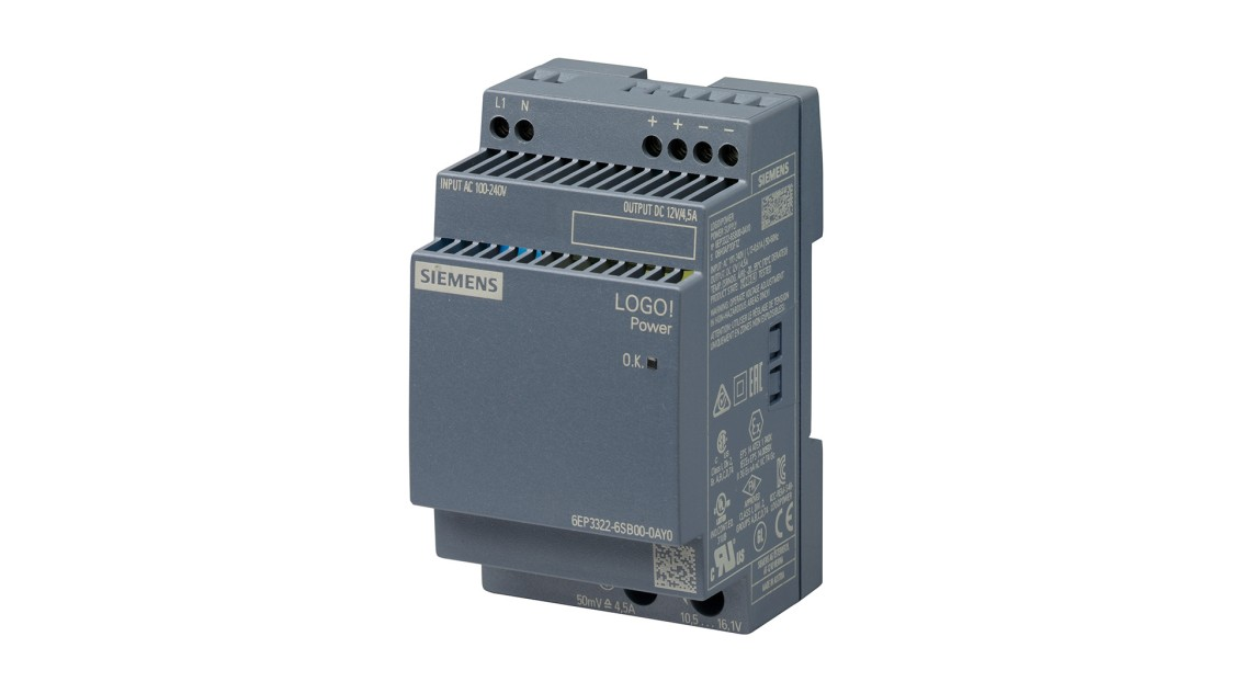 Product image LOGO!Power, 1-phase, 12 V/4.5 A