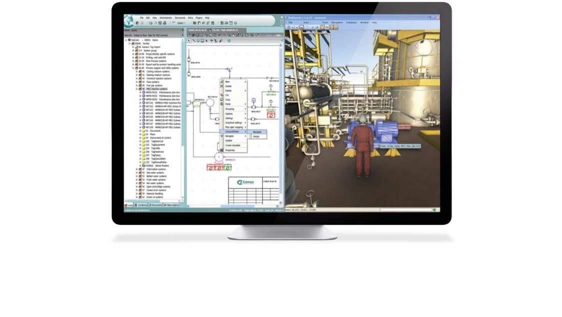 Frontaler Blick auf einen Monitor. Der Bildschirm zeigt einen Screenshot der Software COMOS Walkinside.