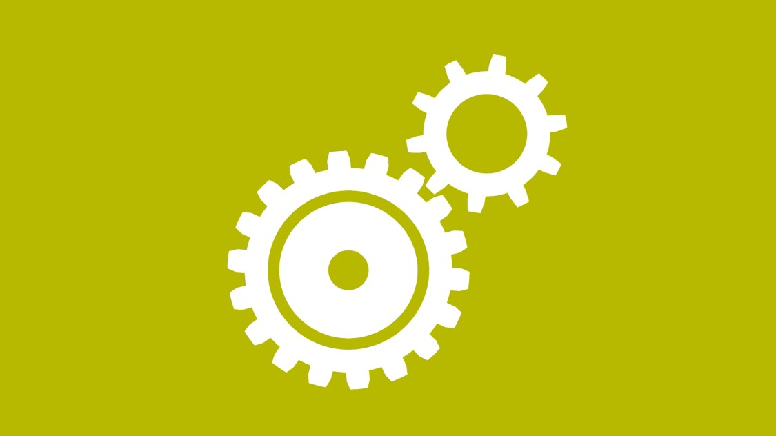 Icon for the System Administration function: two interlocking gears.