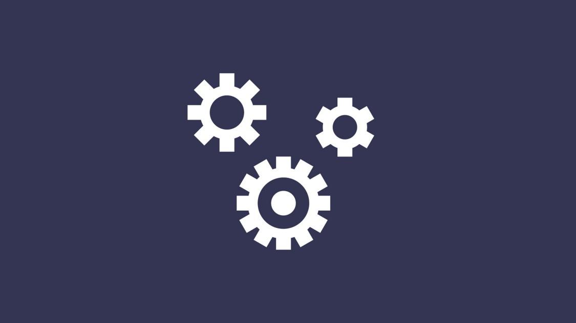 システム管理機能を示す、2つのかみ合った歯車が描かれたアイコン。