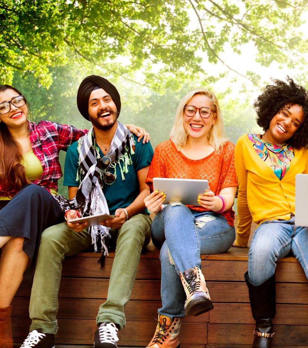 college kids on campus