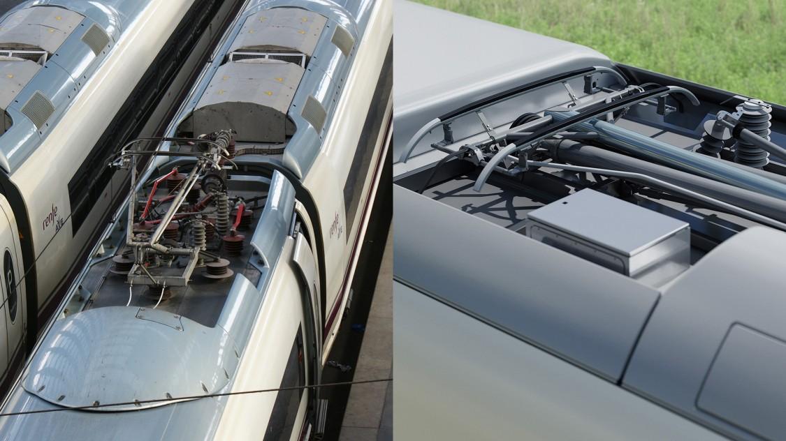 Aufsicht auf das flachere, stromlinienoptimierte Fahrzeugdach des Velaro Novo im Vergleich zum Velaro