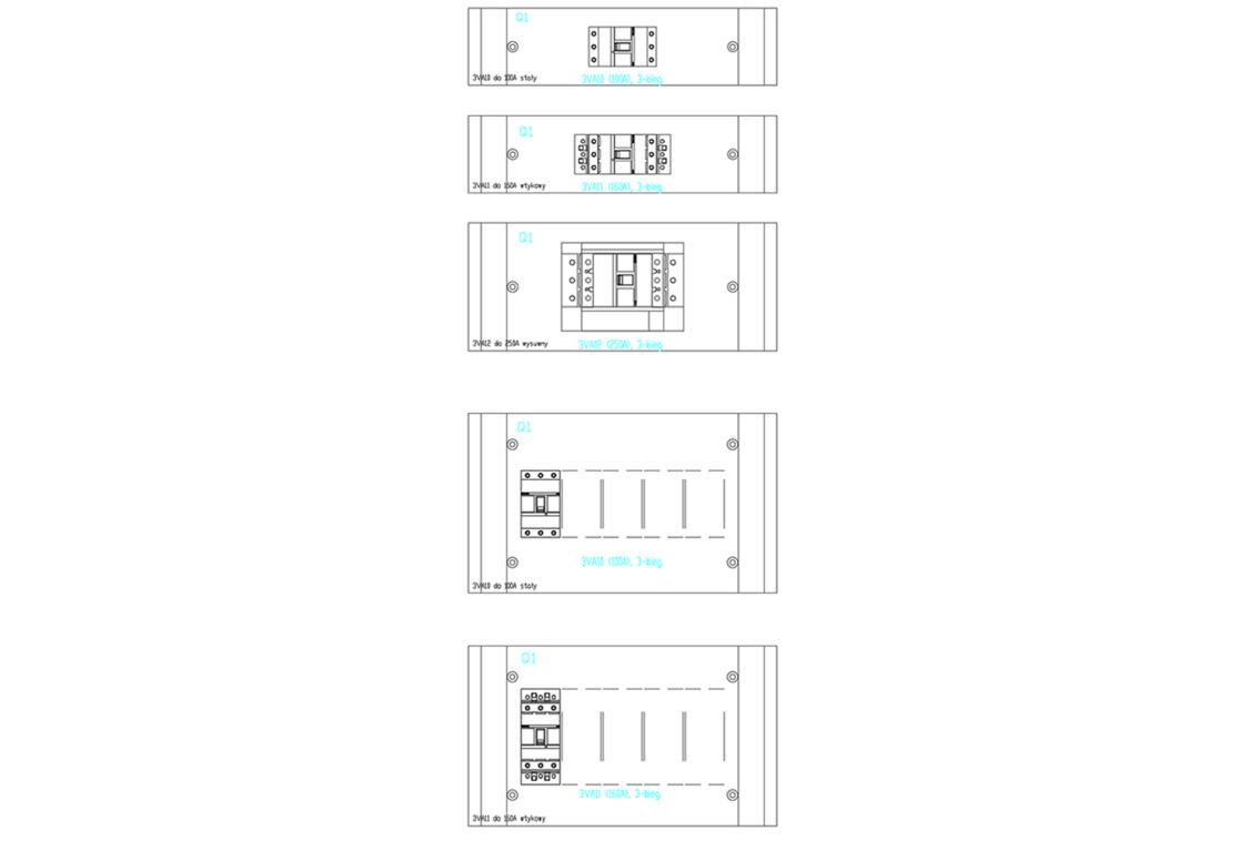 Zestawy montażówe do zabudowy w polach aparatowych rozdzielnicy SIVACON S4