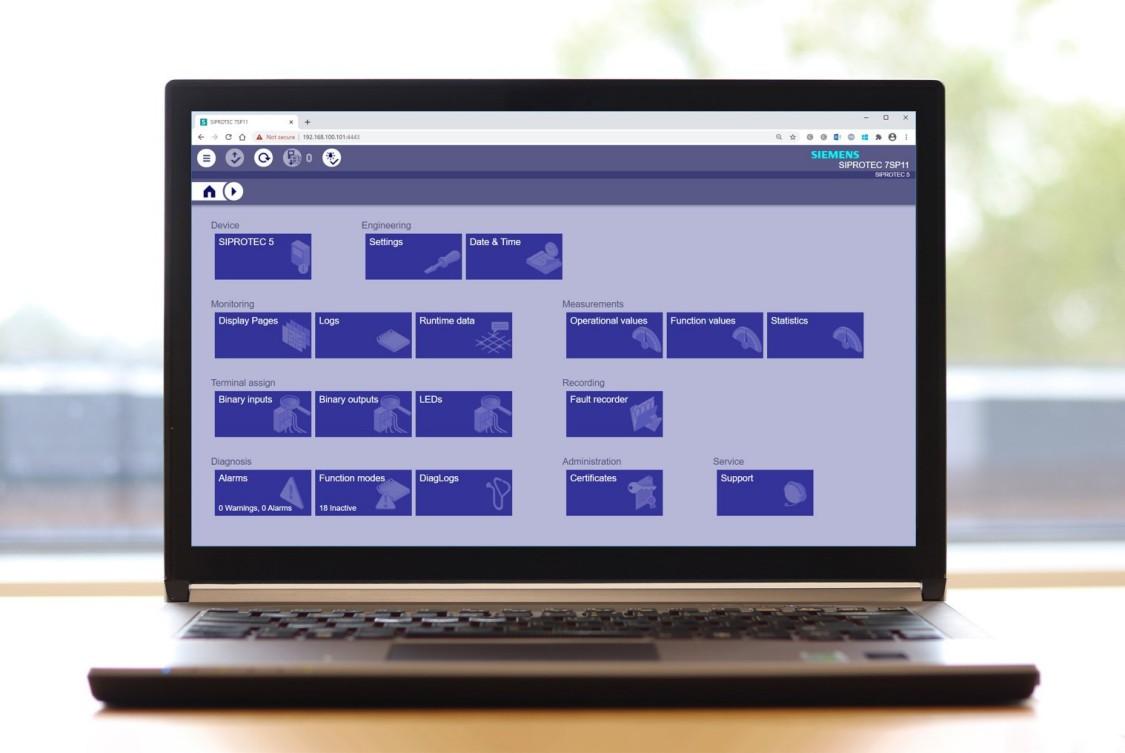 SIPROTEC 5 Web UI - Main menu