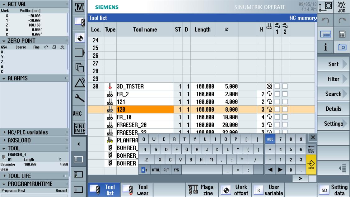 sinumerik machining - tool management