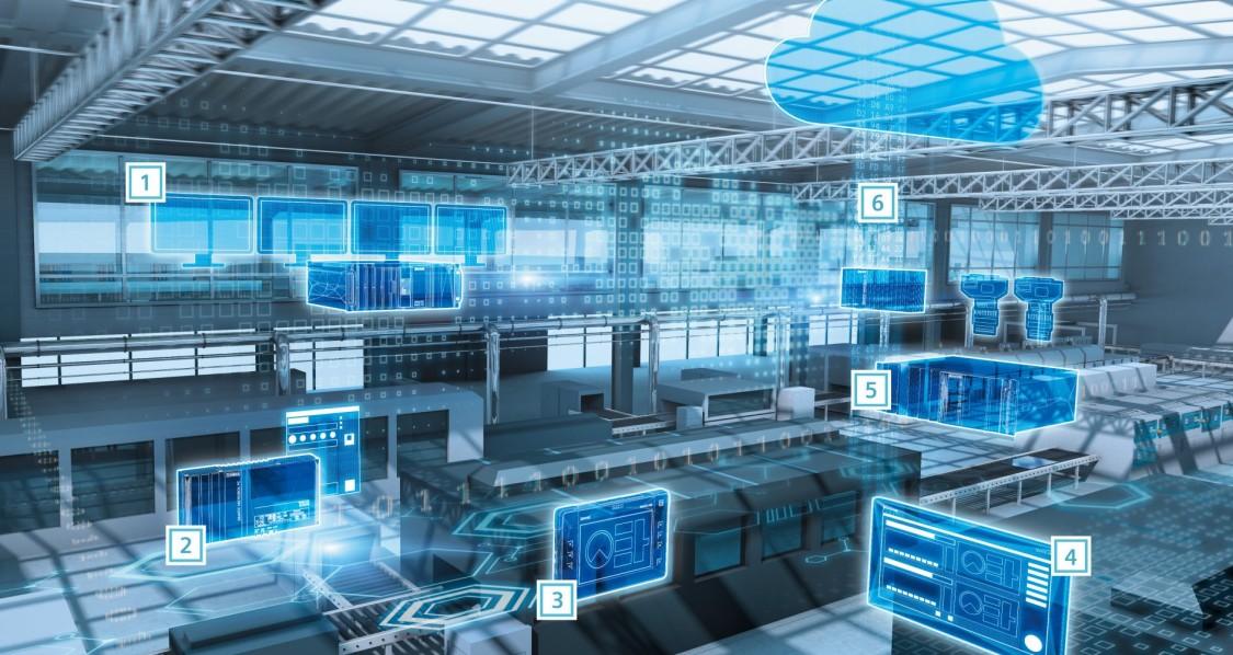 automação industrial com filtros azuis tecnológicos representando a eficiência de controle do simatic para pc