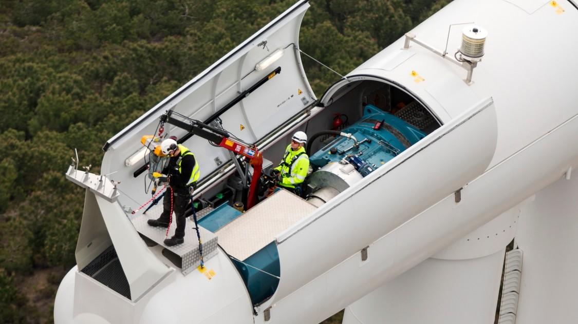 Siemens Service technicians inside an open nacelle