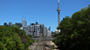 Toronto railway tracks with CN Tower in the background