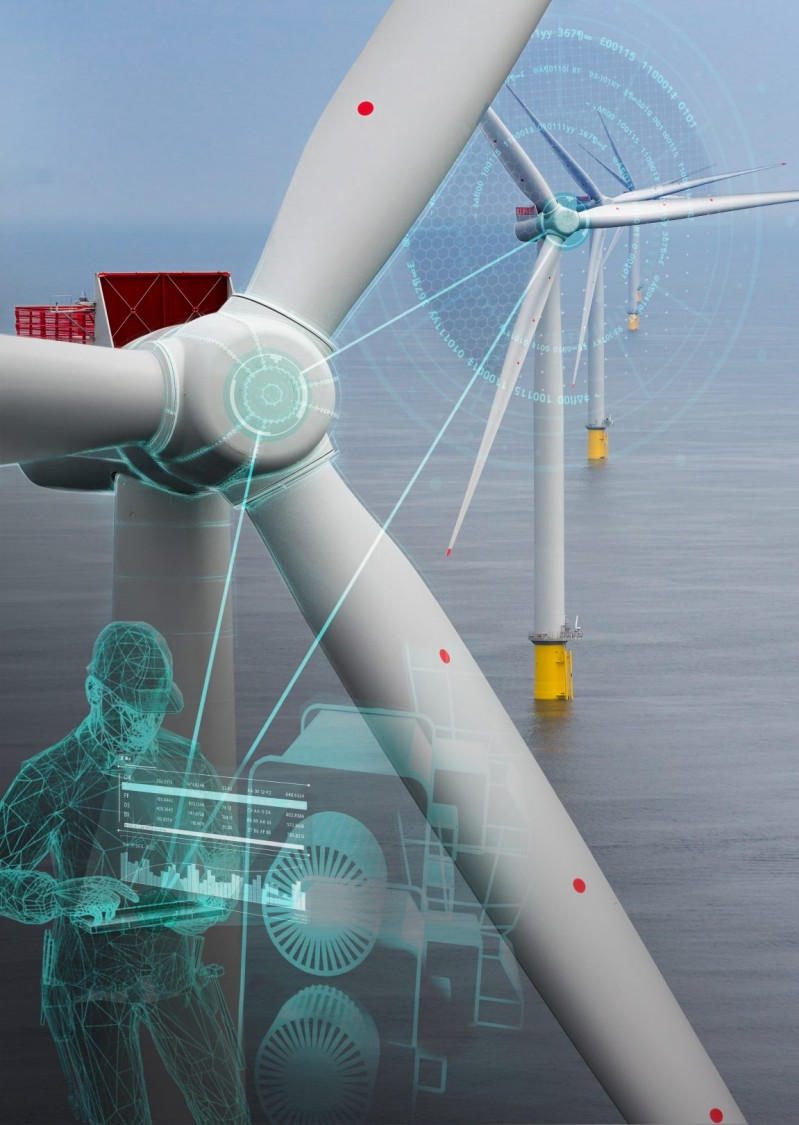 A wind turbine with virtual remote connection