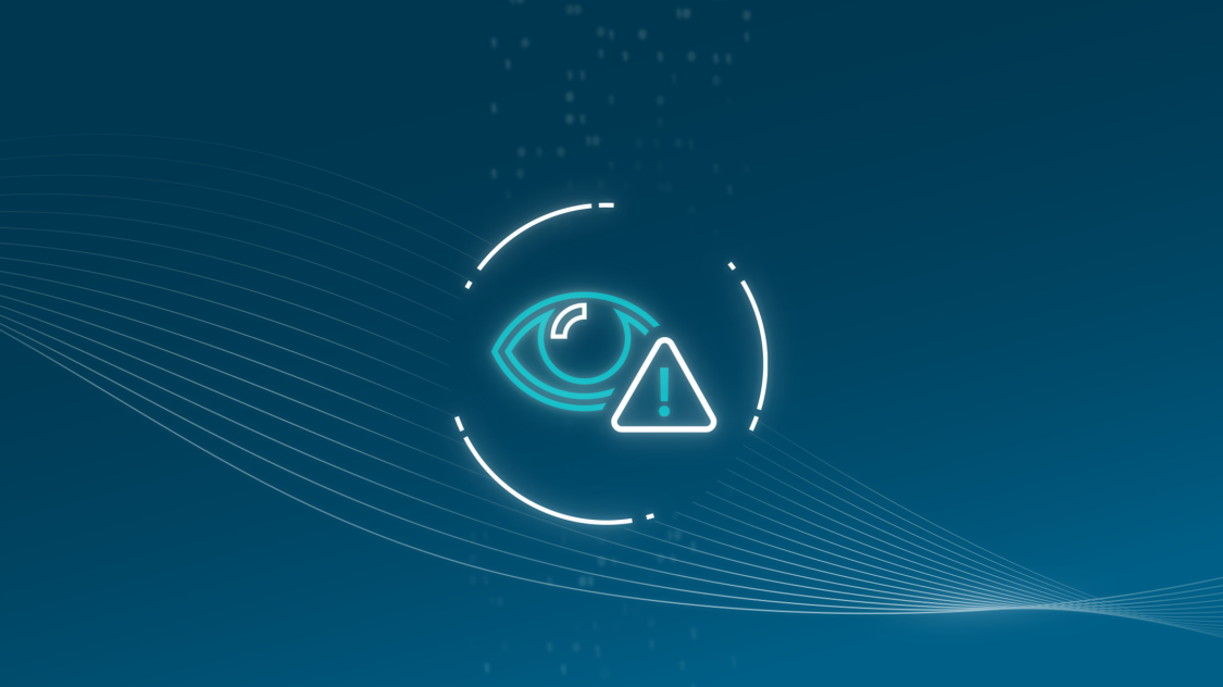 This icon of an eye and exclamation mark represents how one can detect threats and anomalies to industrial control systems with RUGGEDCOM cybersecurity solutions for critical infrastructure networks.