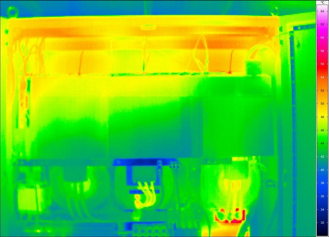 Resultaat van een warmtecamera in een besturingskast