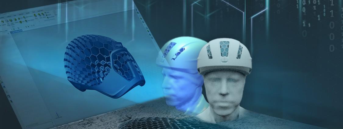 """Im 3D-Druck produziert HEXR Fahrradhelme nach Maß. Als Vorlage dient der """"virtuelle Kopf"""" des Kunden mit insgesamt 30.000 Datenpunkten."""