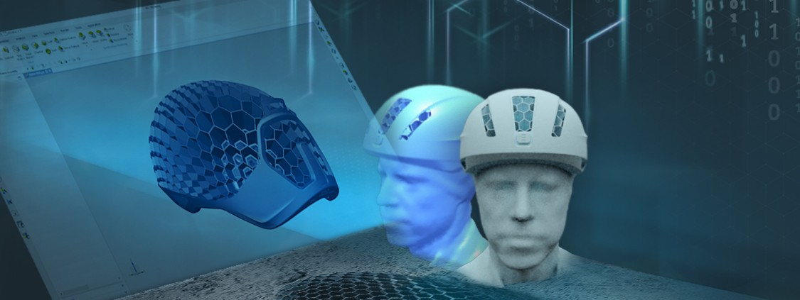 "Using the customer's ""virtual head"" made up of 30,000 data points, HEXR manufactures custom bicycle helmets on a 3D printer (montage: Siemens)"