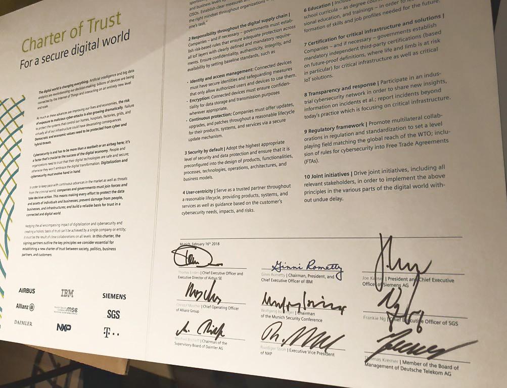 Siemens und Partner unterzeichnen gemeinsame Charta zur Cybersicherheit