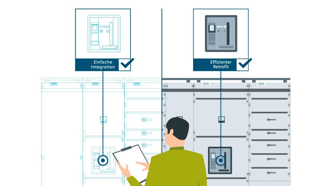Schematische Darstellung der Zeit- und Kostenersparnis bei der Nutzung des offenen Leistungsschalters 3WA