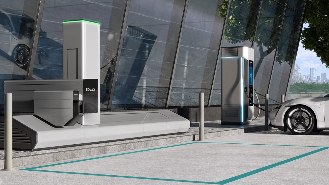 The Siemens Autonomous Charging System: The vehicle has to park in the marked area to be charged.