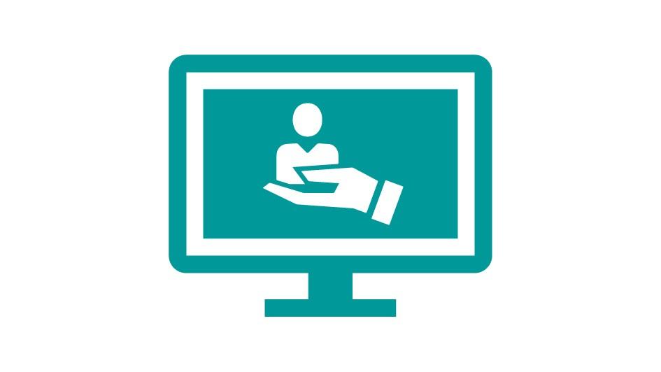 Icone de tela de computador com mao segurando uma pessoa representando os exemplos de aplicacao do logo siemens