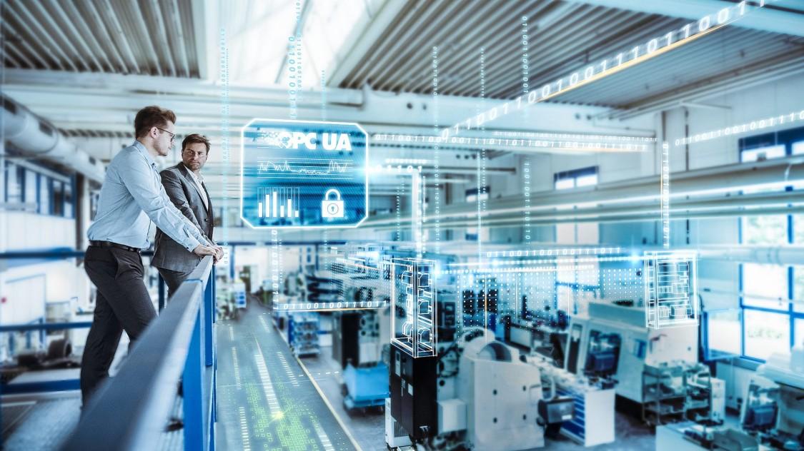 Pohled na chod podniku v reálném čase s grafickými prvky digitalizace pomocí protokolu OPC UA