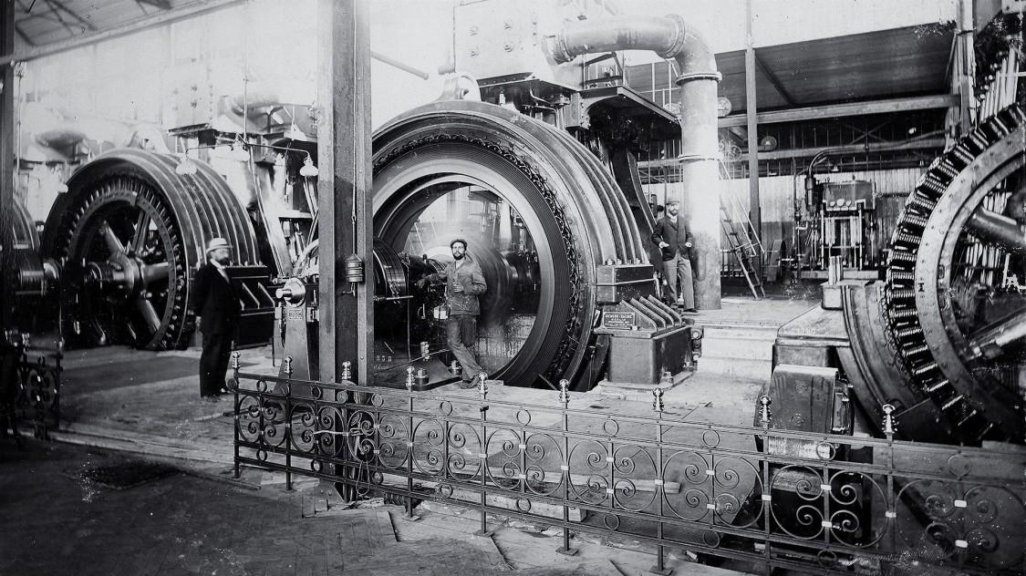 Maschinenhalle im Kraftwerk Brakpan bei Johannesburg, 1897