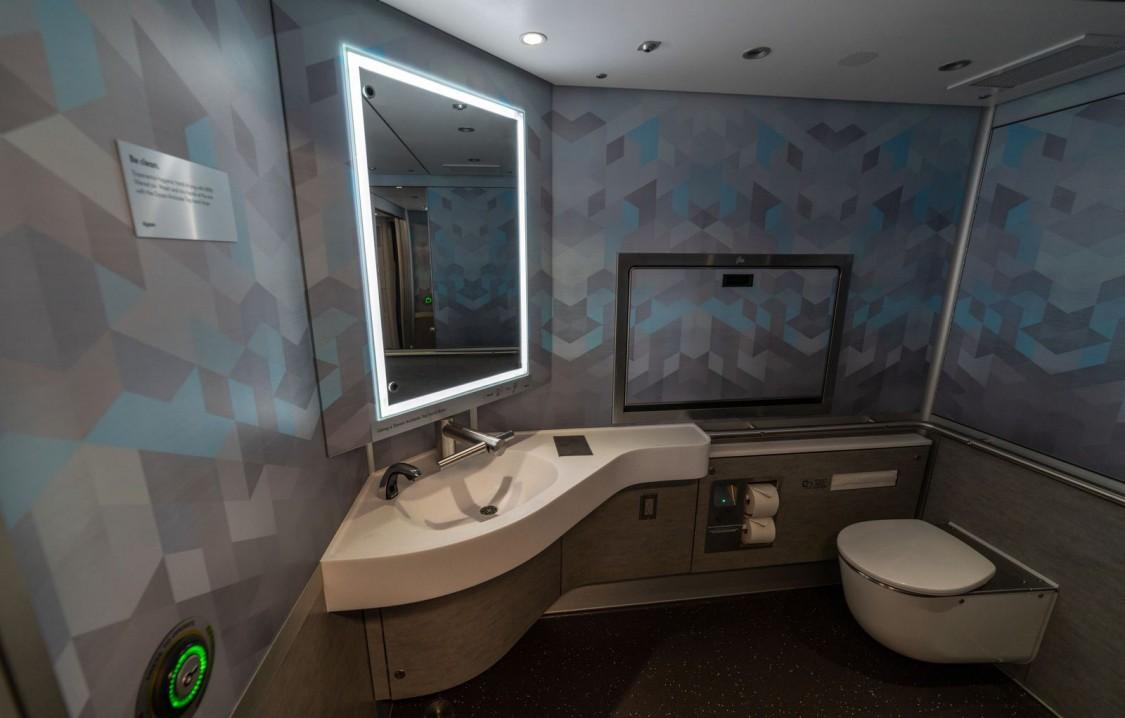Washroom inside a train