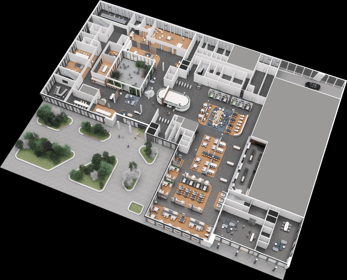 Marktplatz der Möglichkeiten: Aufteilung der Gemeinschaftsflächen im Erdgeschoss von The Move Blue