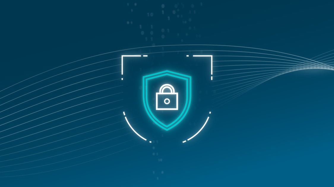 This icon of a shield and lock represents how one can protect industrial control systems with RUGGEDCOM cybersecurity solutions for critical infrastructure networks.