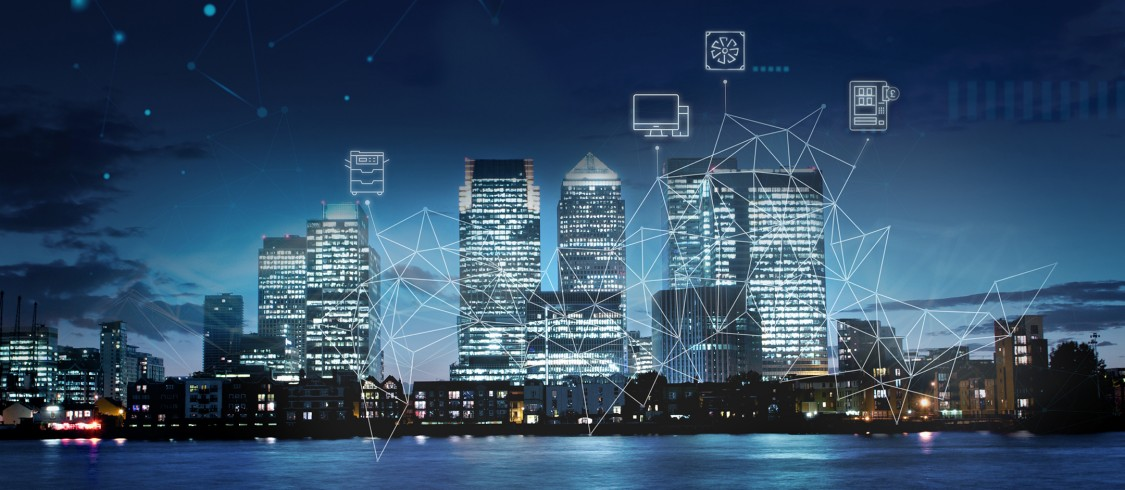 London skyline with asset icons