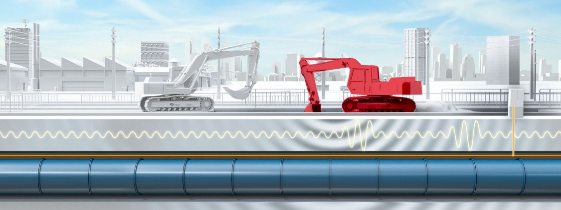 Die Grabungsarbeiten eines Baggers in der Nähe einer unterirdischen Pipeline lösen beim Überwachungssystem SIPIPE MON FOS einen Alarm aus.