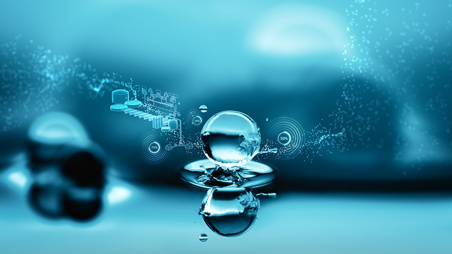 USA | Water droplet representing digitalization in the water industry