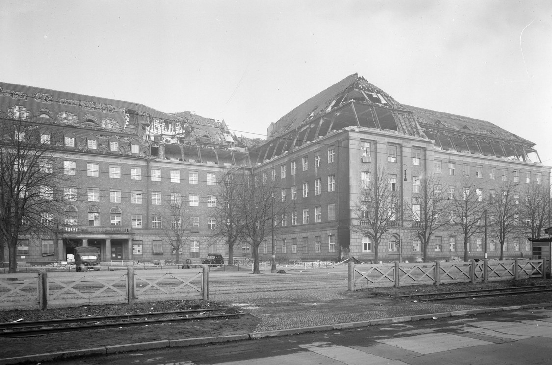 War damage to the administration building, 1944