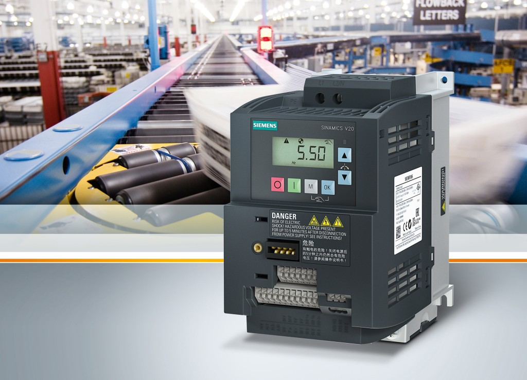 The picture shows the SINAMICS V20 Basic converter from Siemens.