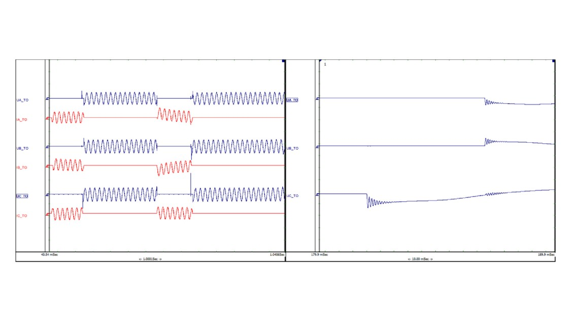 Figure 5: Short-circuit test T100s with two interruptions in sequence, transient-recovery voltages
