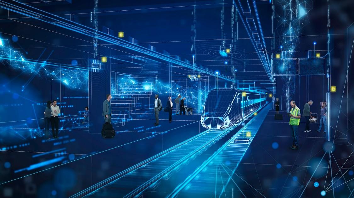Blaue Grafikelemente stellen einen digitalen Bahnhof mit einem digitalen Zug dar, der in den Bahnsteig einfährt; der digitale Bahnhof ist mit realen Bildern von Fahrgästen und Betreibern überlagert