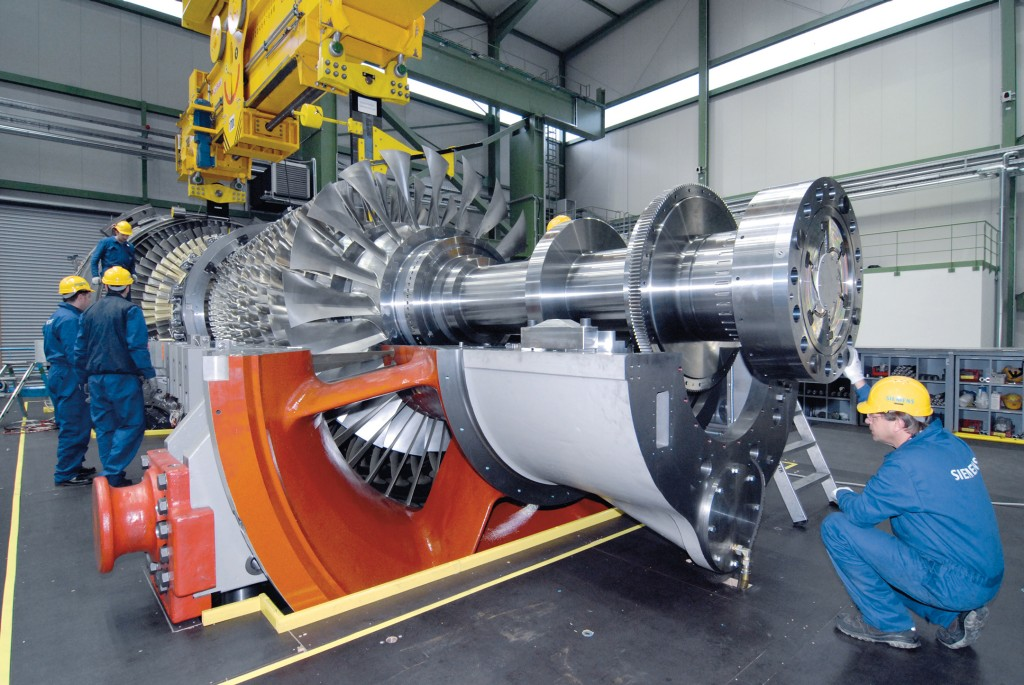 The picture shows the Siemens SGT-8000H gas turbine.