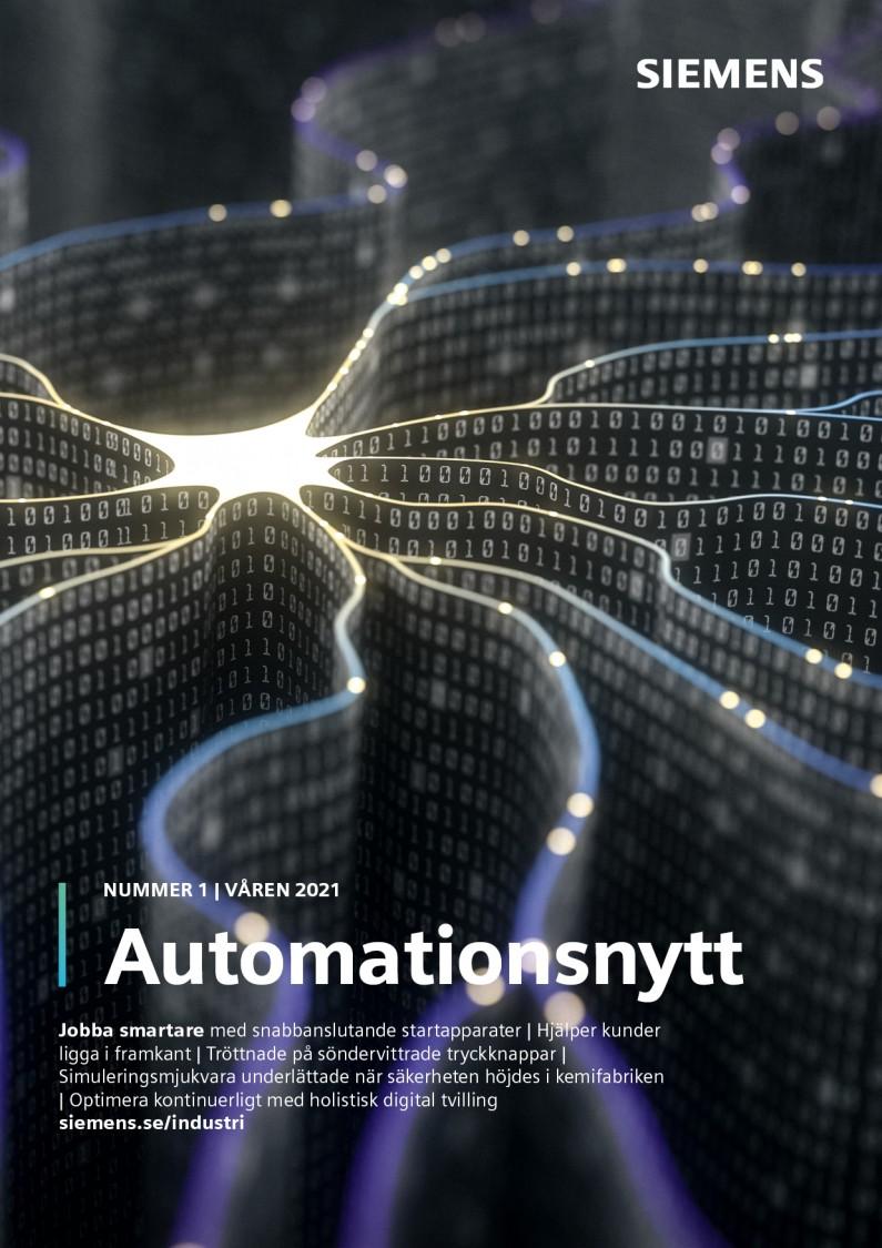 Omslag tidningen Automationsnytt Nr 1 Våren 2021