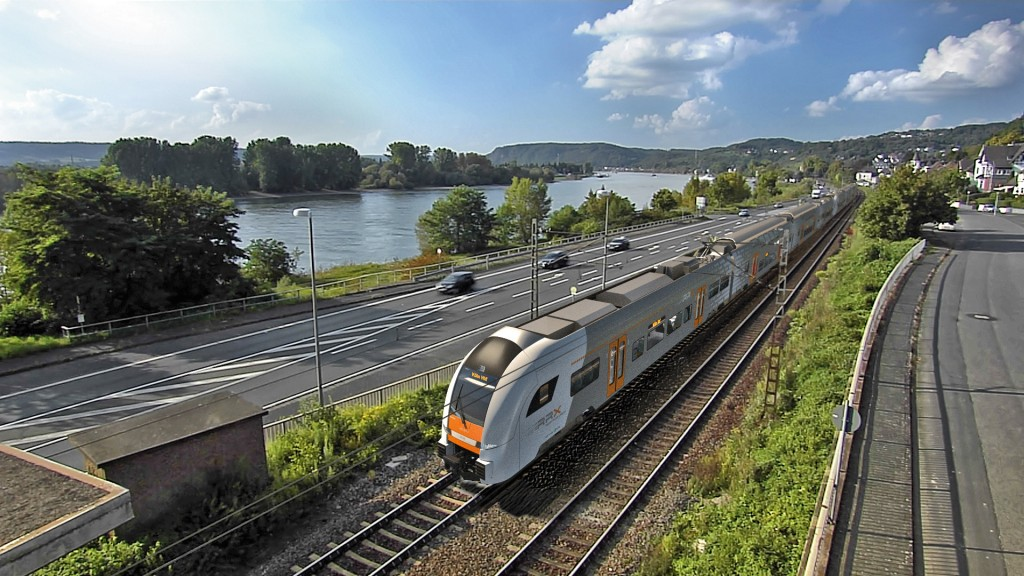 In the picture: The Desiro HC running along the river Rhine.