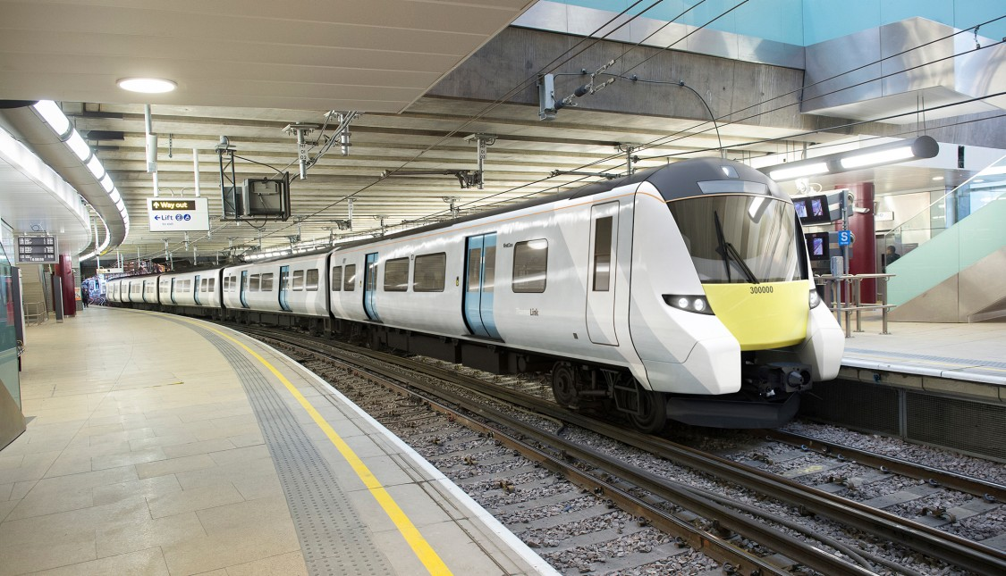 One of 115 Desiro trains from Siemens Mobility for London's Govia Thameslink Railway and XLT at a railway station