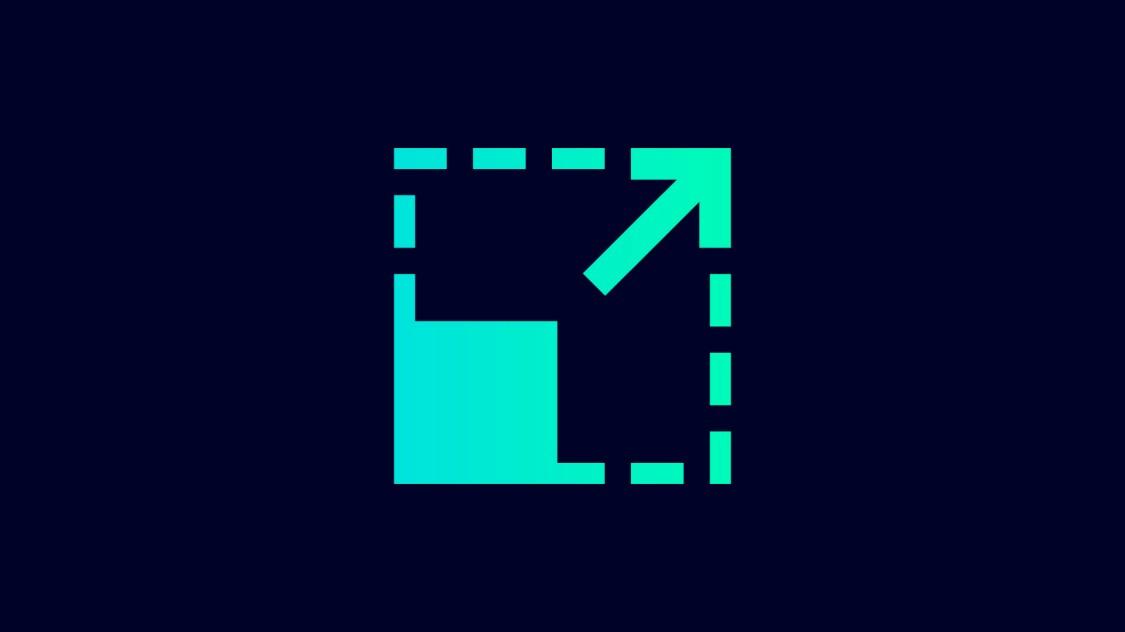 Icon zur Skalierbarkeit von SINEC NMS: ein ausgefülltes Quadrat, das durch ein transparentes Quadrat erweitert wird, ein Pfeil zeigt die Vergrößerung an.