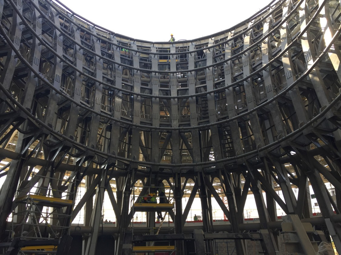 Expo 2020 Sustainability Pavilion under construction.
